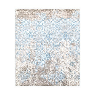 L and R Home Matrix Beige and Blue Olefin Indoor Area Rug (7'9 x 9'5)