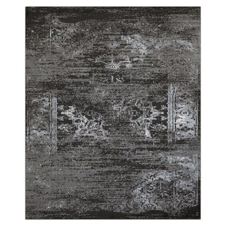 L and R Home Matrix Jet Black/Titanium Indoor Area Rug (7'9 x 9'5)