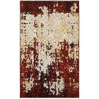 LR Home Matrix Burgundy / Cream Polypropylene Indoor Area Rug - 7'9 x 9'5