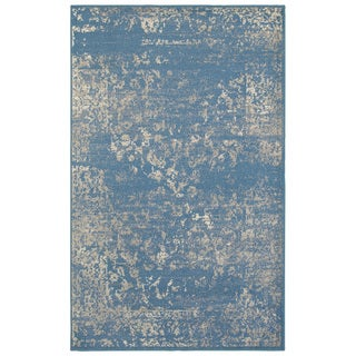 L and R Home Matrix Blue and Beige Indoor Area Rug (7'9 x 9'5)