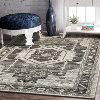 L and R Home Matrix Stone and Magnet Grey Polypropylene Indoor Area Rug( 7'9 x 9'5) - 7'9 x 9'6