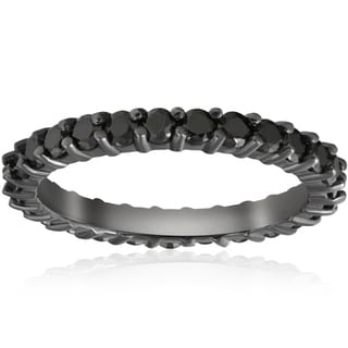 14K White Gold 1 1/2ct TDW Black Diamond Eternity Ring
