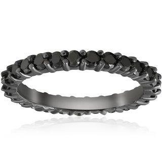 14K White Gold 1 1/2ct TDW Black Diamond Eternity Ring (More options available)