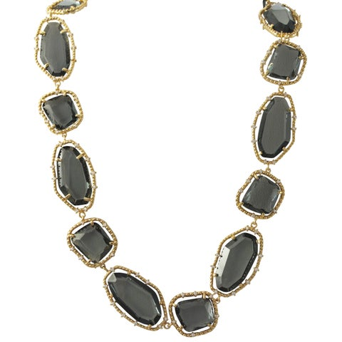 Luxiro Gold Finish Grey Sliced Glass Chunky Statement Necklace