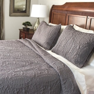 Fashionable Solid 3-piece Full/Queen Size Quilt Set in Ivory(As Is Item)