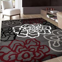 "Contemporary Modern Floral Flowers Red and Grey Polypropylene Area Rug - 7'10"" x 10'2"""