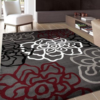 "Contemporary Modern Floral Flowers Red and Grey Polypropylene Area Rug (7'10x10'2) - 7'10"" x 10'2"""