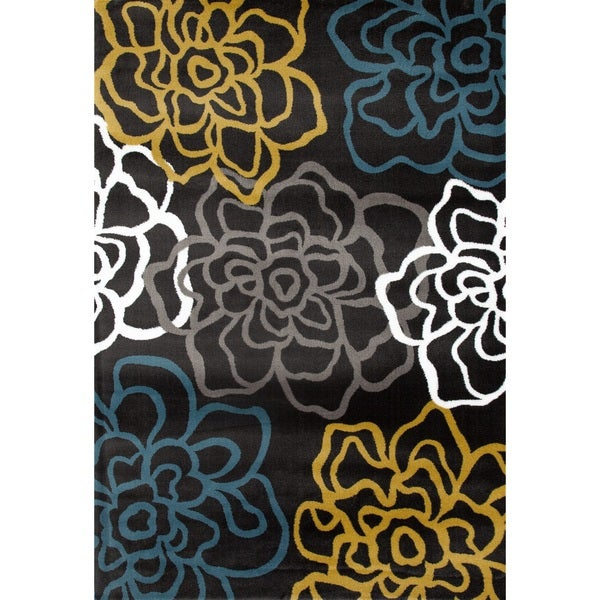 "Yellow/Grey Polypropylene Contemporary Modern Floral Flowers Area Rug - 7'10"" x 10'2"""
