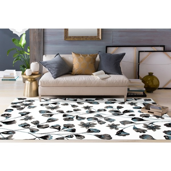 "Modern Blue/White Flower Art Area Rug (7'10 x 10'2) - 7'10"" x 10'2"""