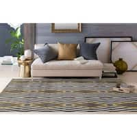 "Contemporary Diamond Stripe Yellow/Grey Area Rug (7' 10 x 10' 2) - 7'10"" x 10'2"""