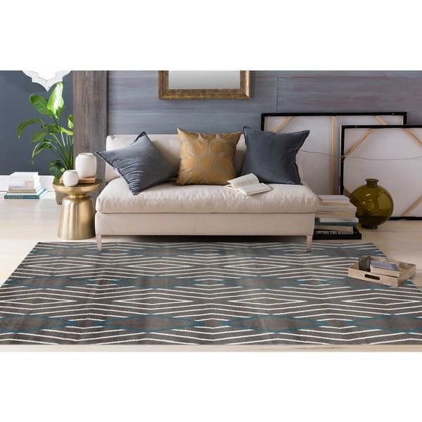 "Grey/Blue Polypropylene Contemporary Diamond Stripe Area Rug - 7'10"" x 10'2"""