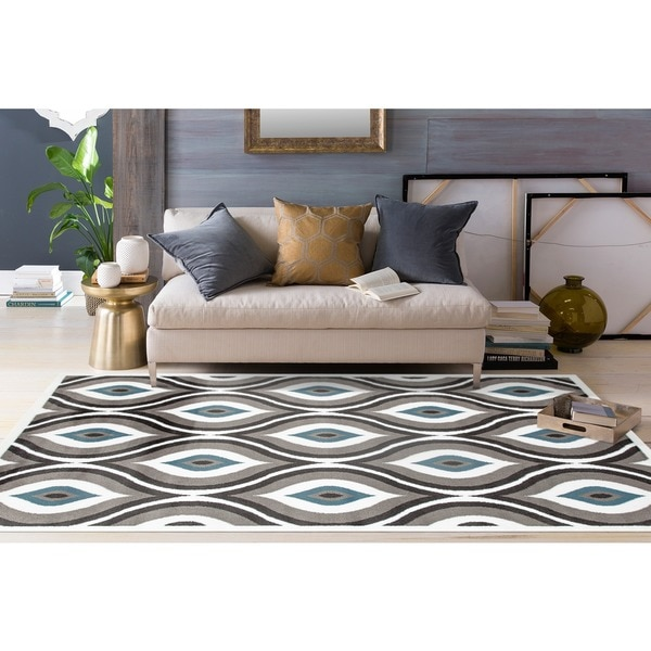 "Modern Trellis Design Grey/Blue Polypropylene Area Rug - 7'10"" x 10'2"""