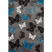 Grey Polypropylene Modern Butterfly Area Rug - 7'10 x 10'2