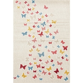 Multicolored Polypropylene Butterfly Pattern Modern Area Rug (7'10 x 10'2)