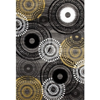 Contemporary Circles Yellow and Grey Polypropylene Area Rug (7' 10 x 10' 2)