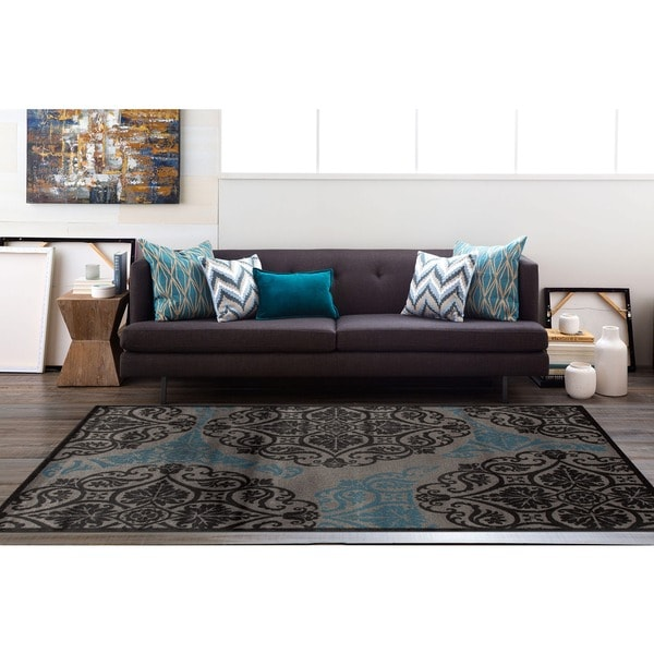 "Grey/Blue Polyurethane Modern Circle Pattern Area Rug (7'10 x 10'2) - 7'10"" x 10'2"""