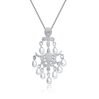 Collette Z Sterling Silver Cubic Zirconia Mini Chandelier Necklace