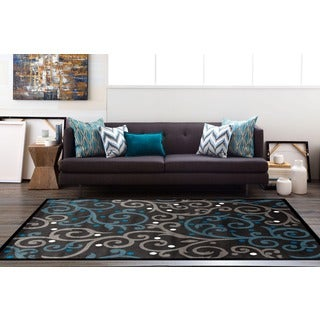 Grey/Blue Polypropylene Modern Scroll Area Rug (7'10 x 10'2)