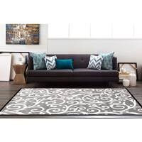 "Modern Grey/White Scroll Area Rug (7'10 x 10'2) - 7'10"" x 10'2"""