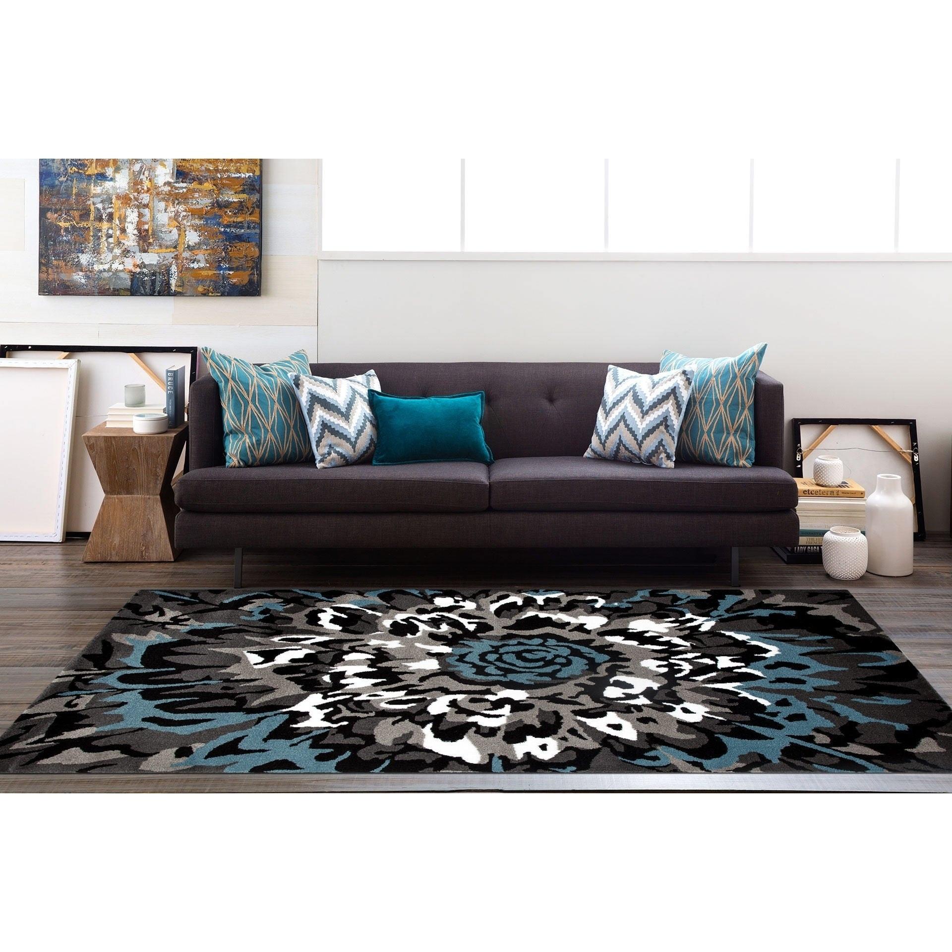 Modern Large Fl Pattern Blue Grey