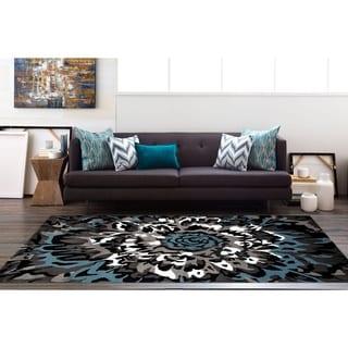 Modern Large Floral Pattern Blue/Grey Polypropylene Area Rug (7'10 x 10'2)