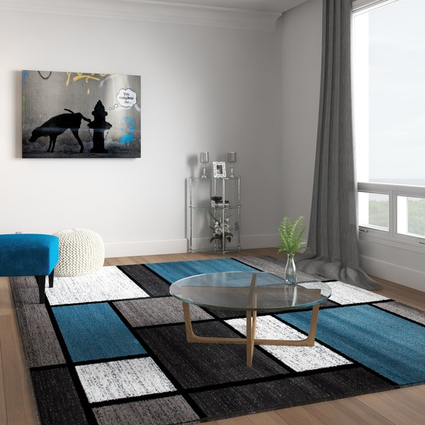 Shop Contemporary Modern Boxes Blue Grey Area Rug 7 10