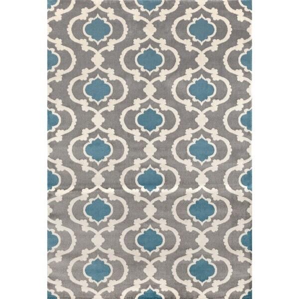 Grey/Blue Moroccan Trellis Contemporary Indoor Area Rug (9