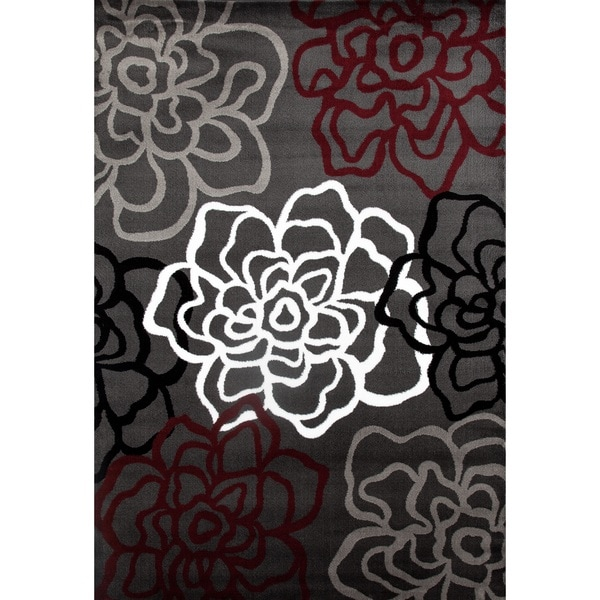 Contemporary Floral Red/Grey Polypropylene Area Rug - 9' x 12'