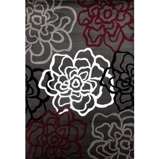 Contemporary Floral Red/Grey Polypropylene Area Rug (9' x 12')