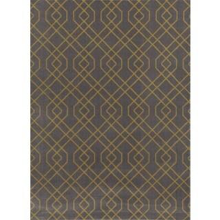 Modern Trellis Grey/Yellow Polypropylene Area Rug (9' x 12')