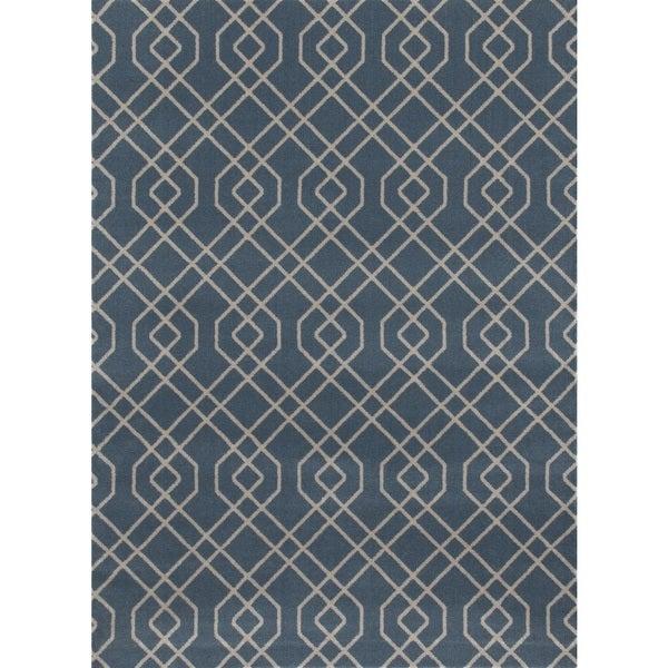 Modern Trellis Design Blue Polypropylene Area Rug (9' x 12') - 9' x 12'