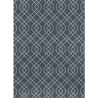 Modern Trellis Design Blue Polypropylene Area Rug (9' x 12')