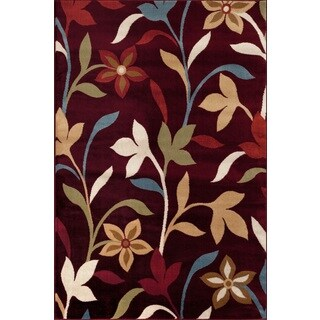 Modern Contemporary Burgundy Polypropylene Leaves Design Area Rug (9' x 12')
