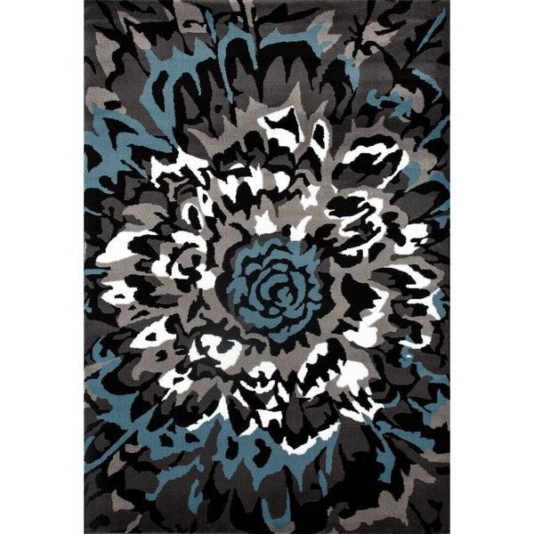 Modern Large Floral Pattern Blue/Grey Polypropylene Area Rug - 9' x 12'