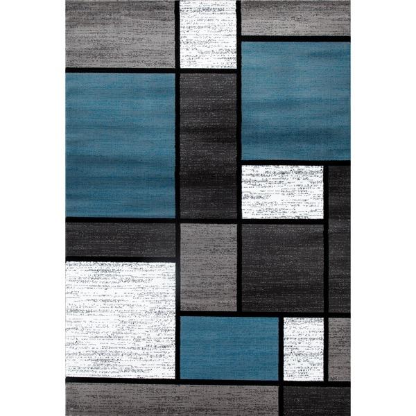 Blue/Grey Polypropylene Contemporary Modern Boxes Area Rug - 9' x 12'
