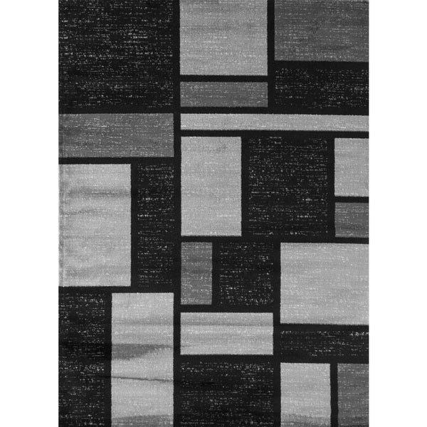 Grey Polypropylene Contemporary Modern Boxes Design Soft Indoor Area Rug - 9' x 12'