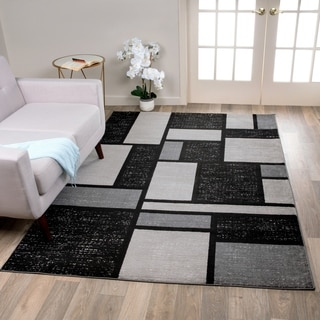 Grey Polypropylene Contemporary Modern Boxes Design Soft Indoor Area Rug (9' x 12')