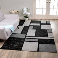 Grey Polypropylene Contemporary Modern Boxes Design Soft Indoor Area Rug (9' x 12') - 9' x 12'