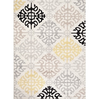 Contemporary Cream Geometric Design Indoor Area Rug (9' x 12')