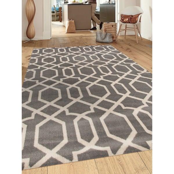 Grey Polypropylene Contemporary Trellis Design Soft Indoor Area Rug (9'x12') - 9' x 12'
