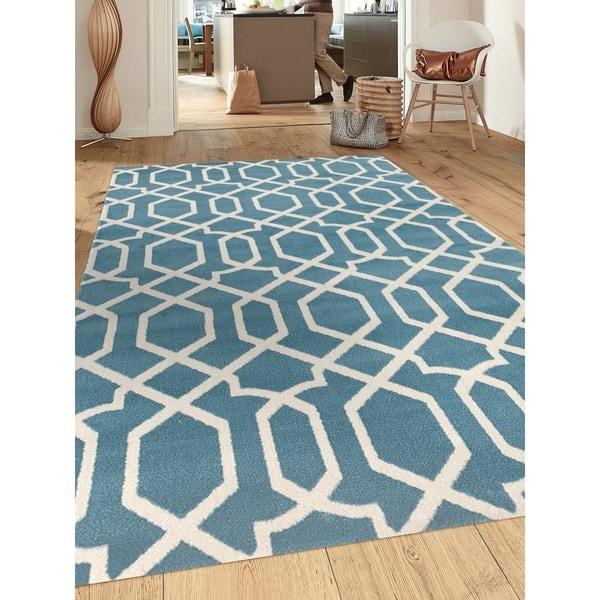 Contemporary Trellis Design Blue Polypropylene Indoor Area Rug (9' x 12') - 9' x 12'