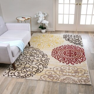 Contemporary Modern Floral Cream Polypropylene Area Rug - 9' x 12'