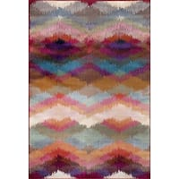 Multicolored Polypropylene Distressed Modern Geometric Soft Area Rug (9' x 12') - 9' x 12'