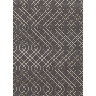 Modern Grey Trellis Design Area Rug (9' x 12')