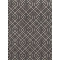 Modern Grey Trellis Design Area Rug - 9' x 12'