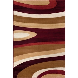 Abstract Contemporary Burgundy Polypropylene Area Rug (9' x 12')