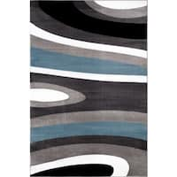 Abstract Contemporary Modern Blue Polypropylene Area Rug (9' x 12') - 9' x 12'