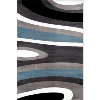 Abstract Contemporary Modern Blue Polypropylene Area Rug - 9' x 12'