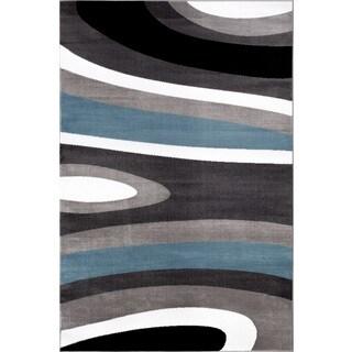 Abstract Contemporary Modern Blue Polypropylene Area Rug (9' x 12') - 9' x 12'