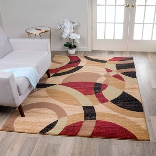 Multicolored Polypropylene Contemporary Modern Circles Abstract Area Rug (9' x 12')